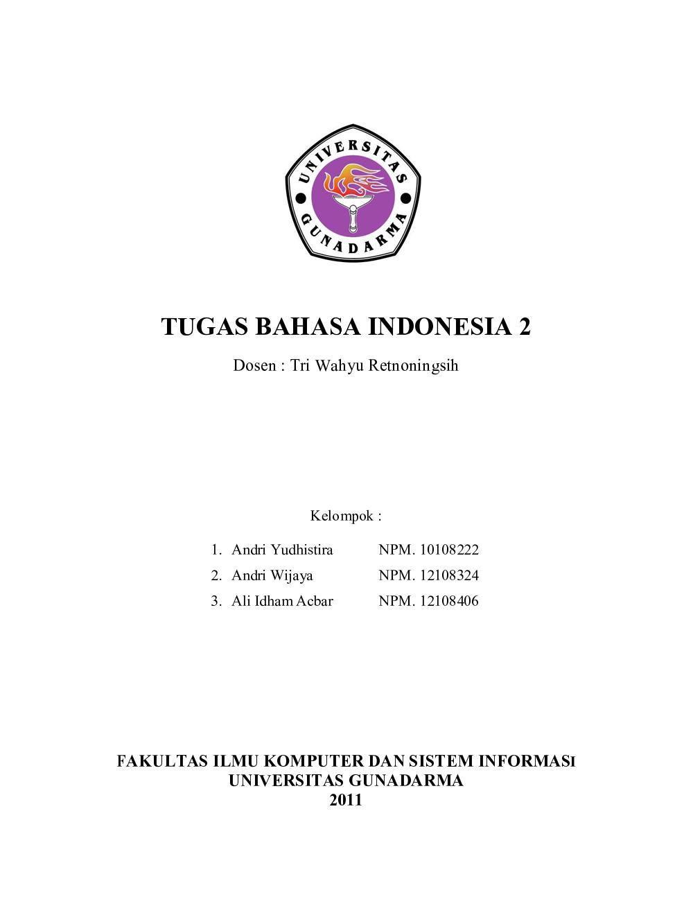 Tugas Bahasa Indonesia 2 – Makalah | Andri Yudhistira's Site